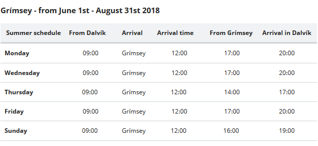 Grimsey Ferry schedule