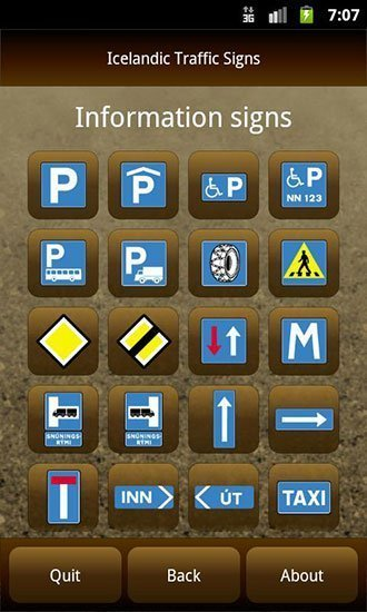 Icelandic traffic signs app