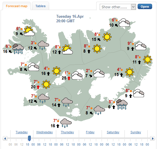 Vedur.is weather forecast Iceland