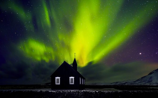 Church Northern Lights Iceland
