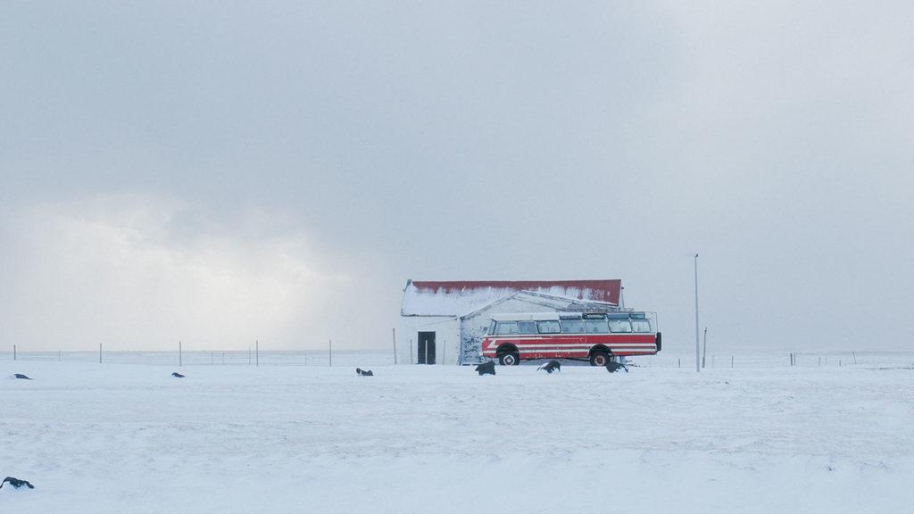 Iceland bus snowstorm