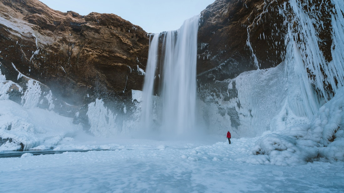 Waterfall in winter in Iceland