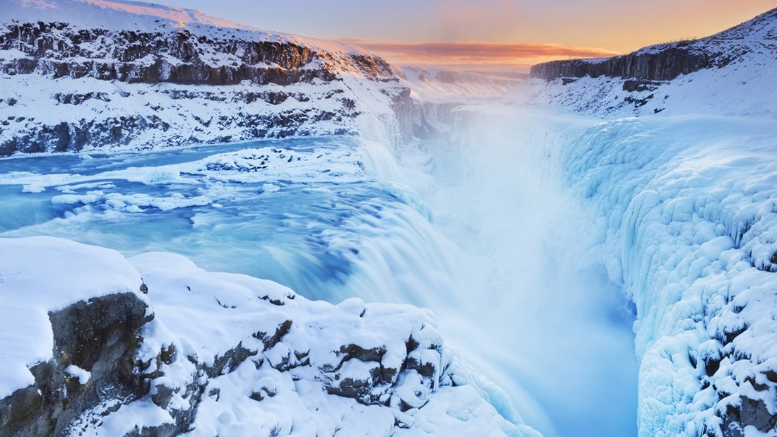 Gullfoss Waterfall in winter Iceland
