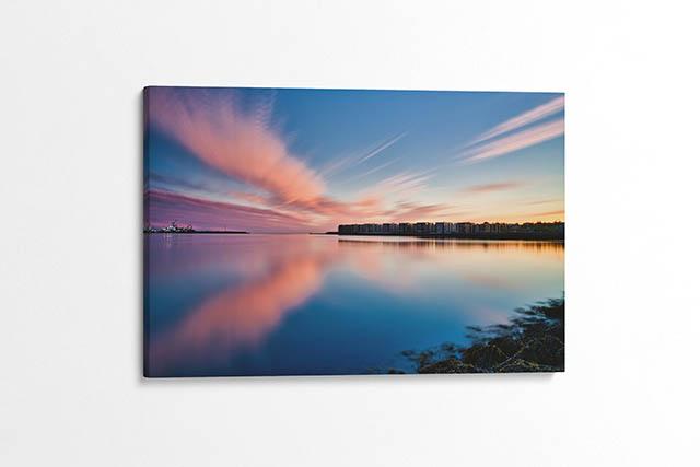 Midnight Sun Over Hafnarfjörður Canvas Wall Print