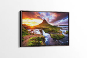 Beautiful Sunset at Kirkjufell Mountain Canvas Print