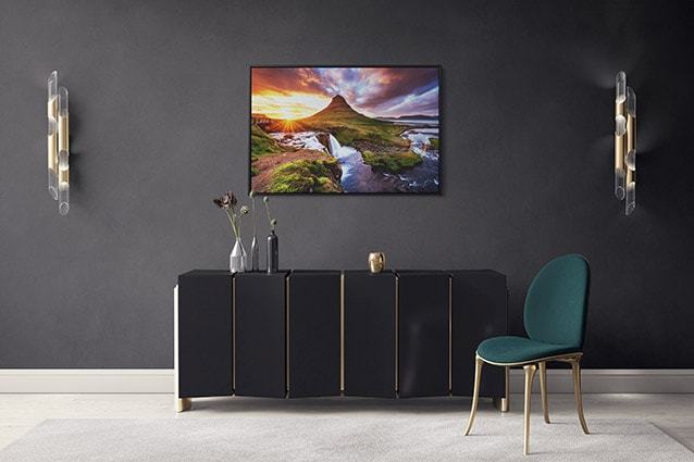 Beautiful Sunset at Kirkjufell Mountain Canvas Print