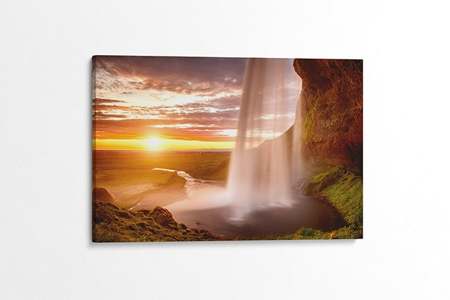 Sunset at Seljalandsfoss Waterfall Canvas Print