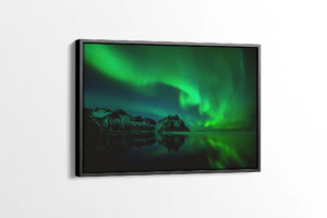 Black Sand Beach Aurora Reflections Canvas Print