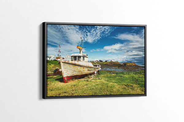 A Lonely Boat in Stykkishólmur Canvas Print